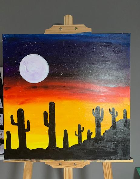 cacti - Kakteeen Acrylmalerei abstrakt mit bunt gefärbtem Himmel und einem riesigen Mond am Abendhimmel
