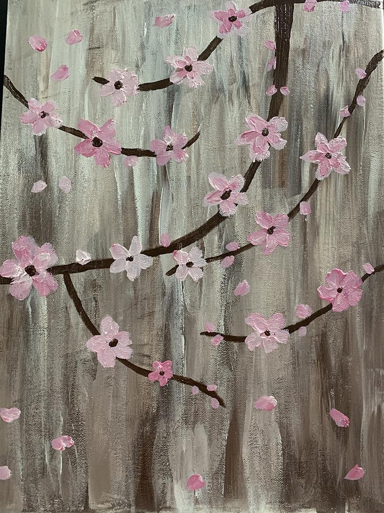 Sakura - Japanische Kirschblüte Acrylmalerei abstrakt