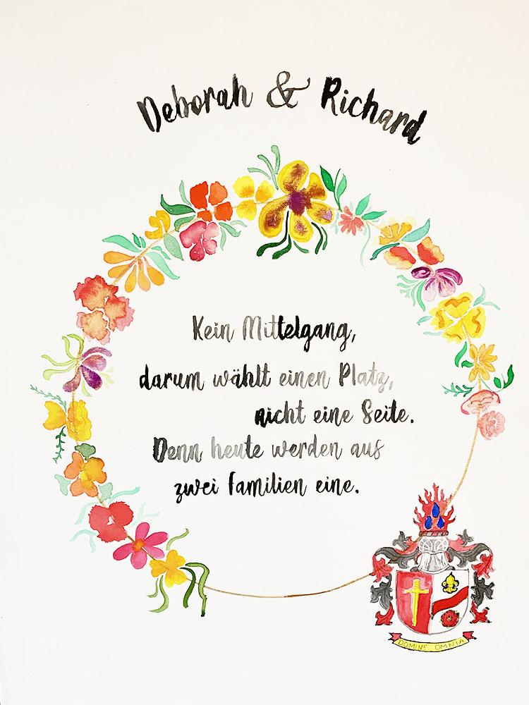 personalisiertes Bild Aquarell mit bunten Wildblumen zur kirchlichen Trauung